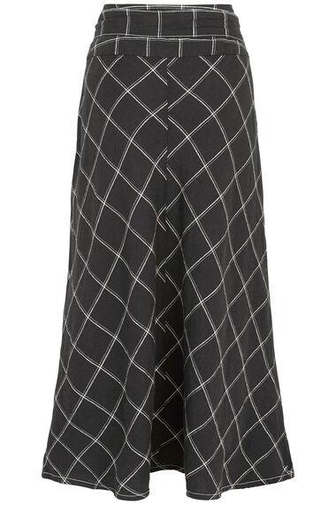 Check Linen Blend Skirt