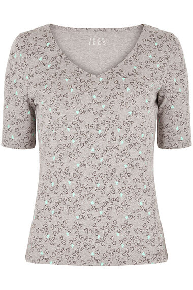 Half Sleeve Heart Print T-Shirt