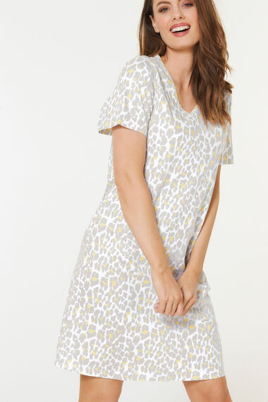 Animal Print Short Sleeve Nightshirt