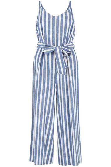 Striped Linen Blend Jumpsuit