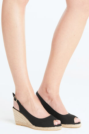 Maya Grace Canvas Peep Toe Slingback  Wedge Sandal