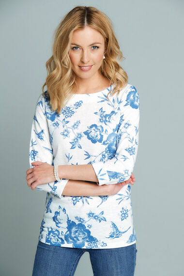 Floral Printed Boat Neck Sweat