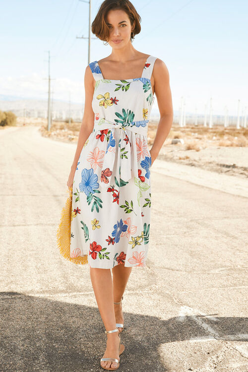 Fit And Flare Linen Blend Dress