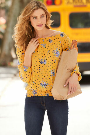 Spot And Floral Print Bardot Shirred Hem Top