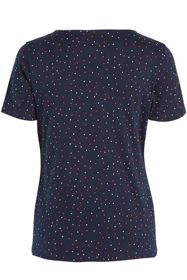 Notch Neck Polka Dot T-Shirt