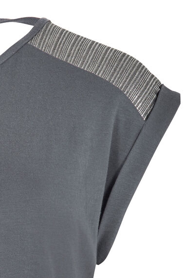 Foil Shoulder Detail Top