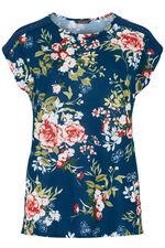 Daisy Print Crochet Detail T-Shirt