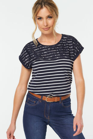 Stripe Lace Detail T-Shirt