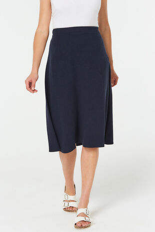 Plain Linen Blend Flippy Skirt