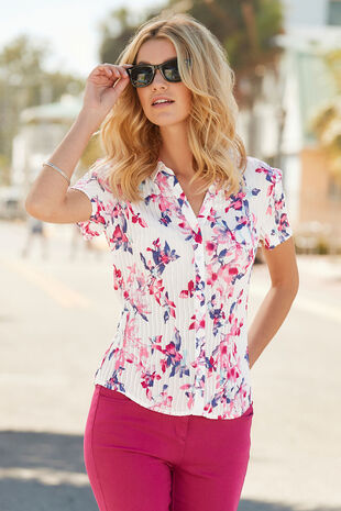 Watercolour Leaf Pleated Short Sleeve Blouse
