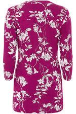 Floral Print Pintuck Detail Jersey Top