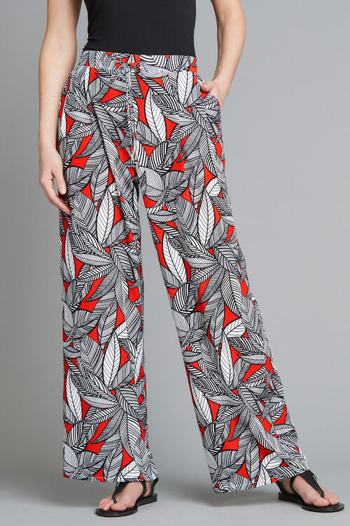 Printed Crepe Palazzo Trousers