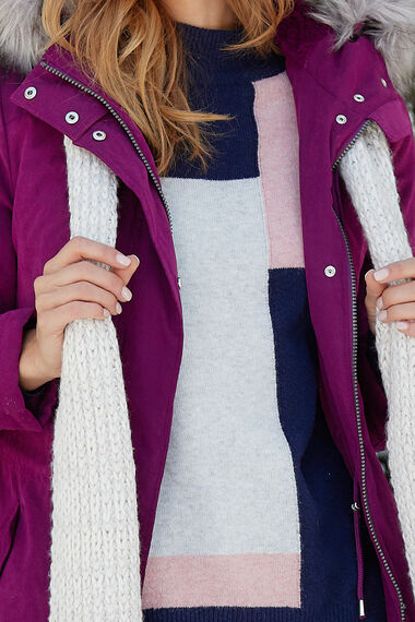 Soft Touch Hooded Parka with Faux Fur Trim