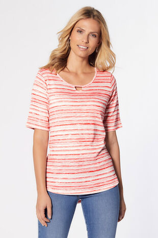 Keyhole Neck Stripe Top