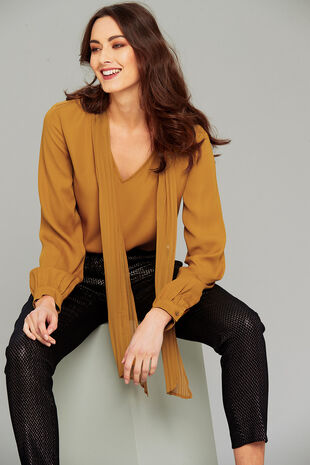 Salvari Long Sleeve Tie Neck Blouse
