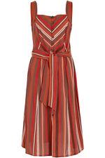Sleeveless Button Pinafore Dress