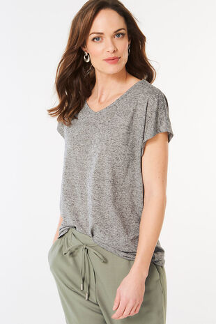 Stud Shoulder Marl T-Shirt