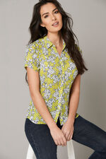 Linear Floral Pleated Short Sleeve Blouse