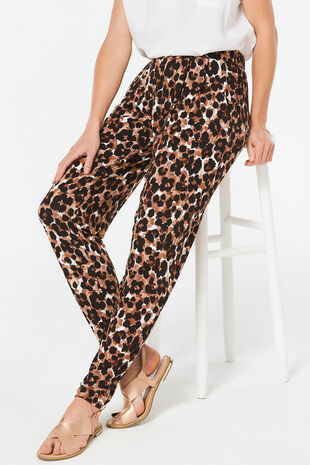 Animal Print Jersey Harem Trousers
