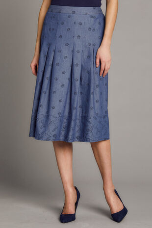 Chambray Border Print A Line Skirt