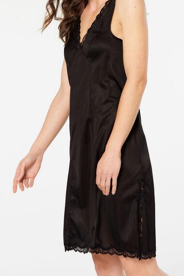 Lace Trim Wide Strap Full Slip Dress
