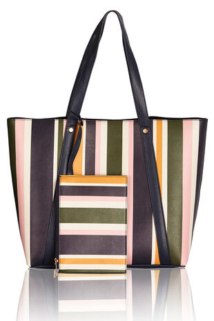Reversible Stripe Tote Bag