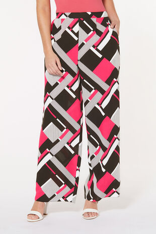 Geo Print Wide Leg Trouser
