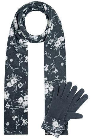 Blossom Scarf and Glove Fleece Set