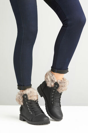 Krush Lace Up Boot with Faux Fur