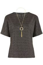 Split Sleeve Glitter Top With Necklace