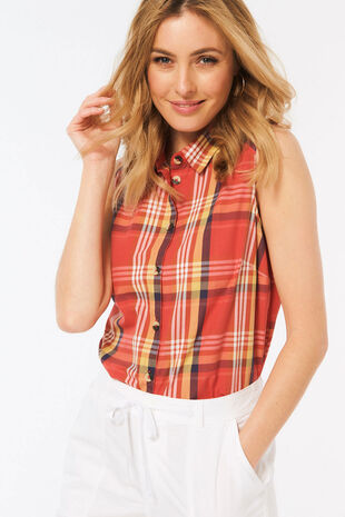 Sleeveless Bright Check Shirt