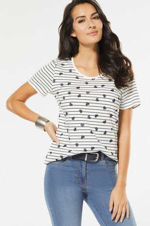 Heart and Stripe Print T-Shirt