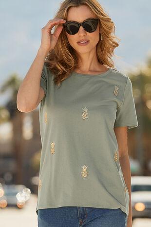 Pineapple Embellished T-Shirt