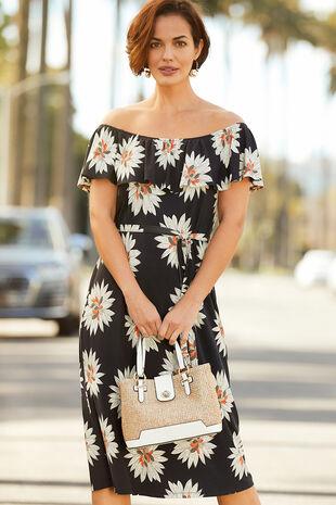 6f75d2082c5 Printed Bardot Dress