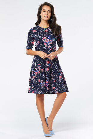 Floral Checked Swing Dress