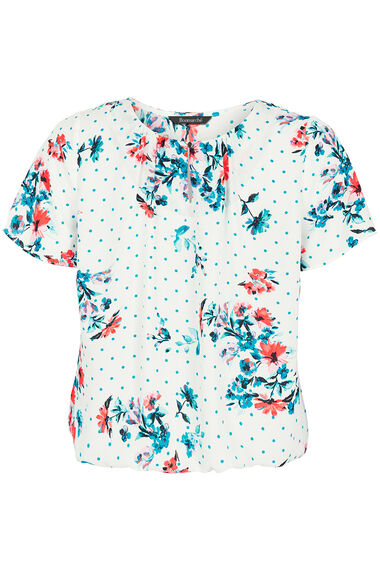 Spot And Floral Print Keyhole Blouse