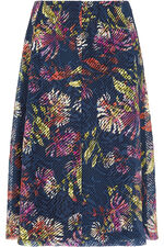 Textured Printed A Line Skirt