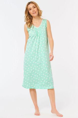Sleeveless Leaf Print Nightdress