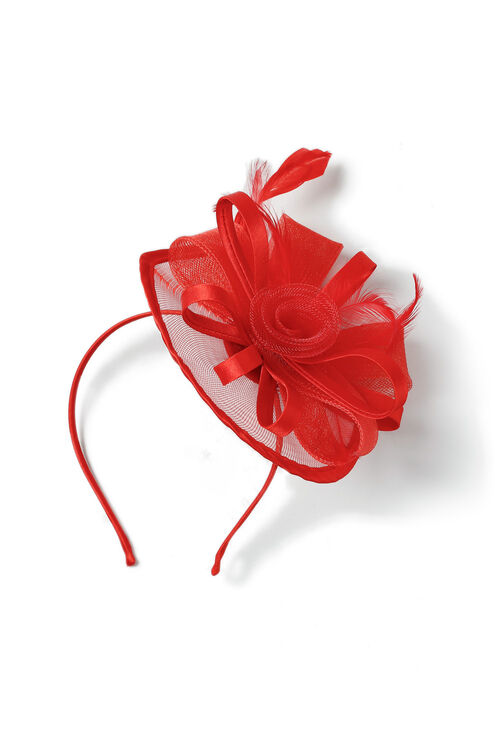 Muse Silk Trim Flower Red Fascinator