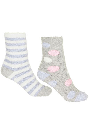 2 Pack Stripe and Spot Cosy Socks