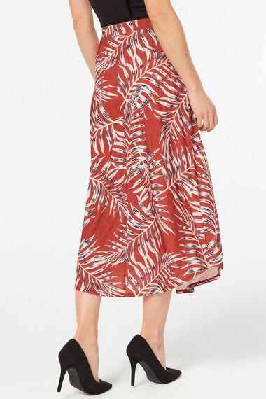 Tie Waist Belt Palm Print Skirt