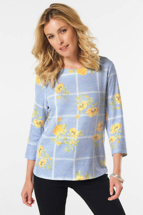 Printed Floral and Check Sweat