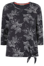 Floral Print Tie Hem T-Shirt
