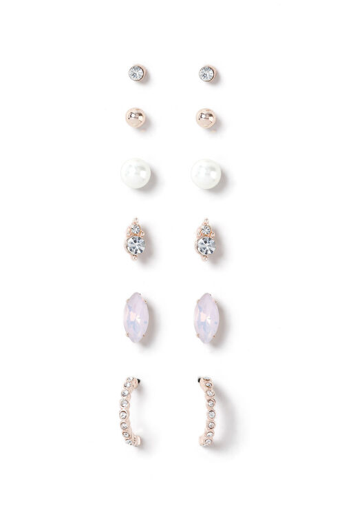 Muse Pearl and Crystal Six Pack Rose Gold Earrings