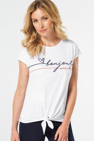 Bonjour' Slogan Print T-Shirt