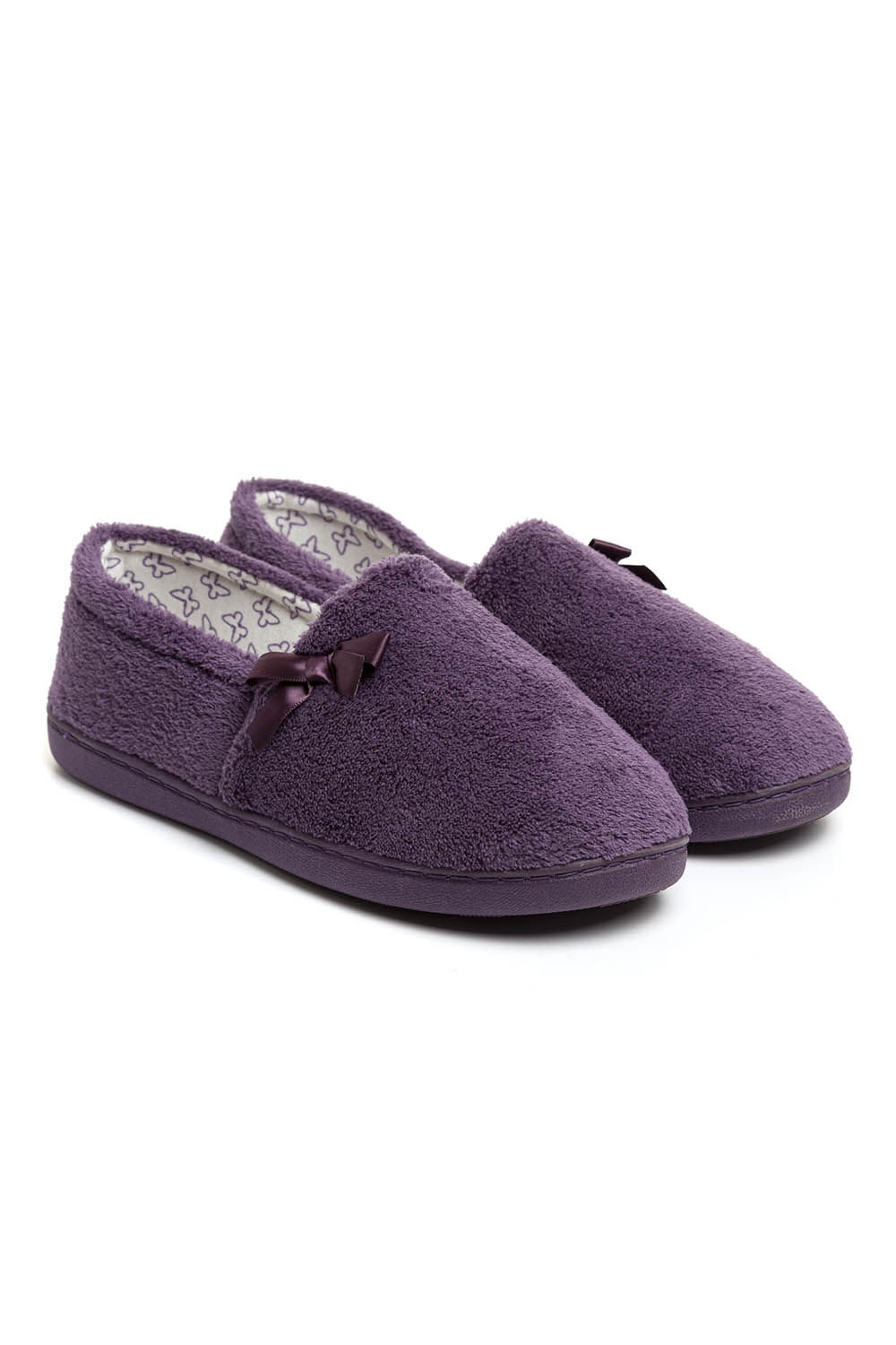 LADIES WOMENS DARK BLUE TOWELLING MOCCASIN FULL SLIPPERS WITH BOW HARD SOLE 3-8