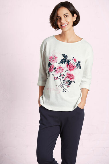 Placement Print Textured Sweater