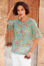 Floral Burnout Frill Sleeve Jersey Top