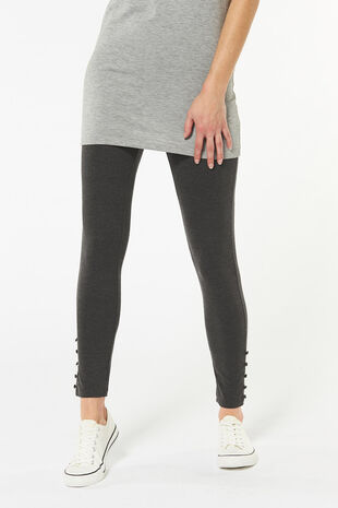 Button Hem Marl Legging