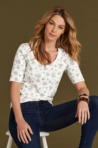 Printed Scoop Neck Half Sleeve T-Shirt